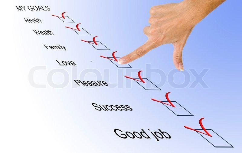 List of life goals, stock photo