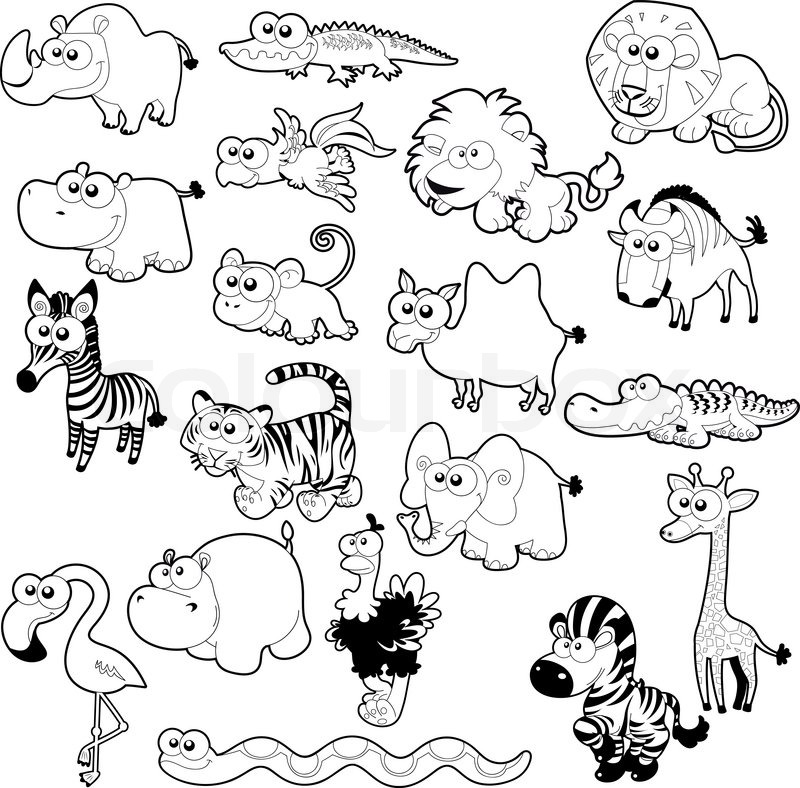 Beautiful Savannah Animal Family, Vector