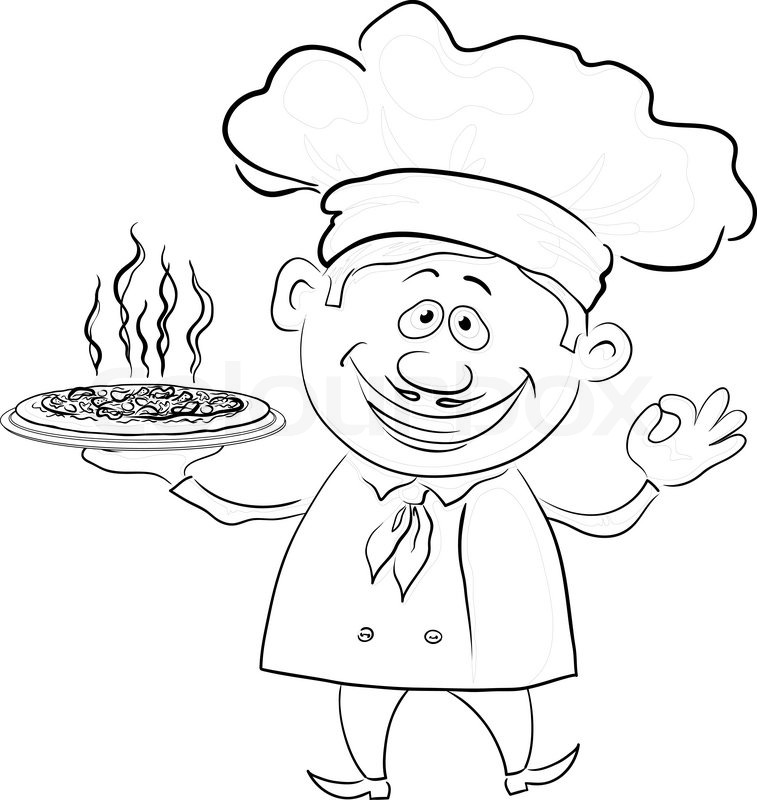 Cook Holds A Hot Pizza Contour Stock Vector Colourbox