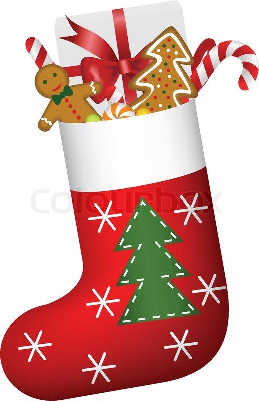 christmas sock full of gifts stock vector colourbox