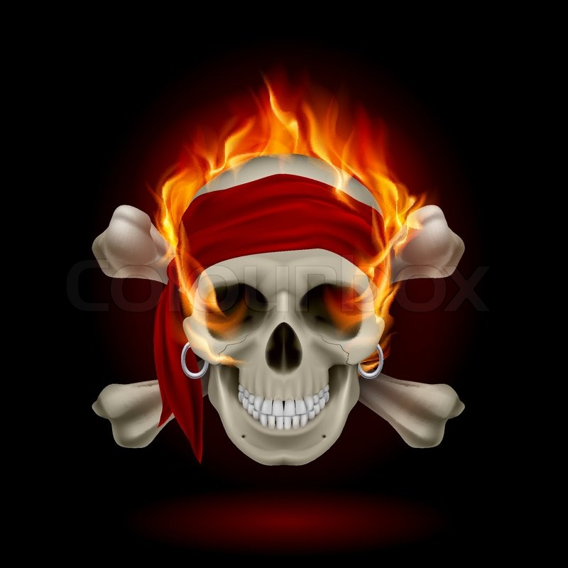 Flaming_Skull_Pirate | Stock Vector | Colourbox