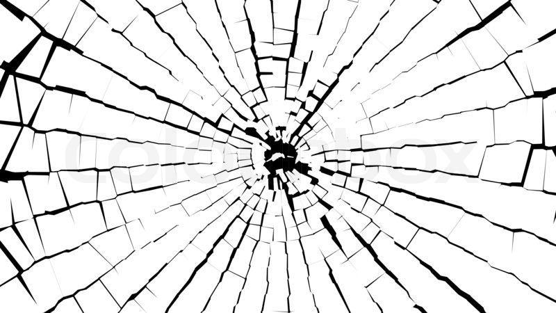 Cracked Glass Drawing of Broken White Glass Over