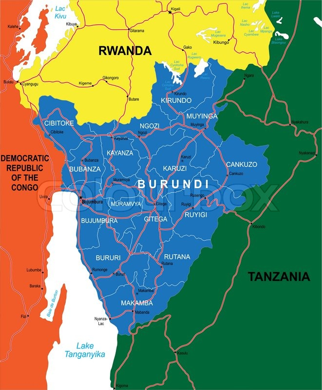 Highly Detailed Vector Map Of Burundi With Administrative Regions - Where is burundi on a world map