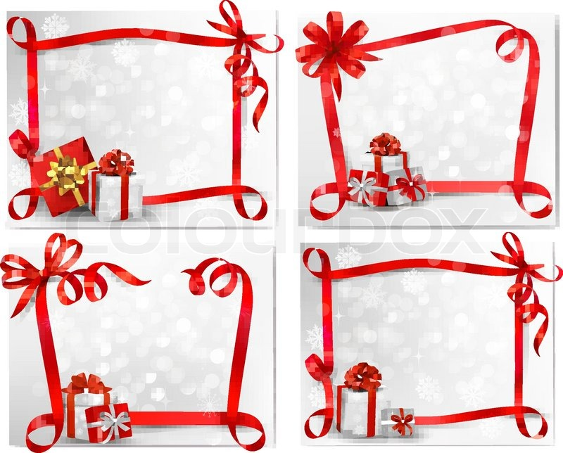 Set of holiday backgrounds with red     | Stock vector