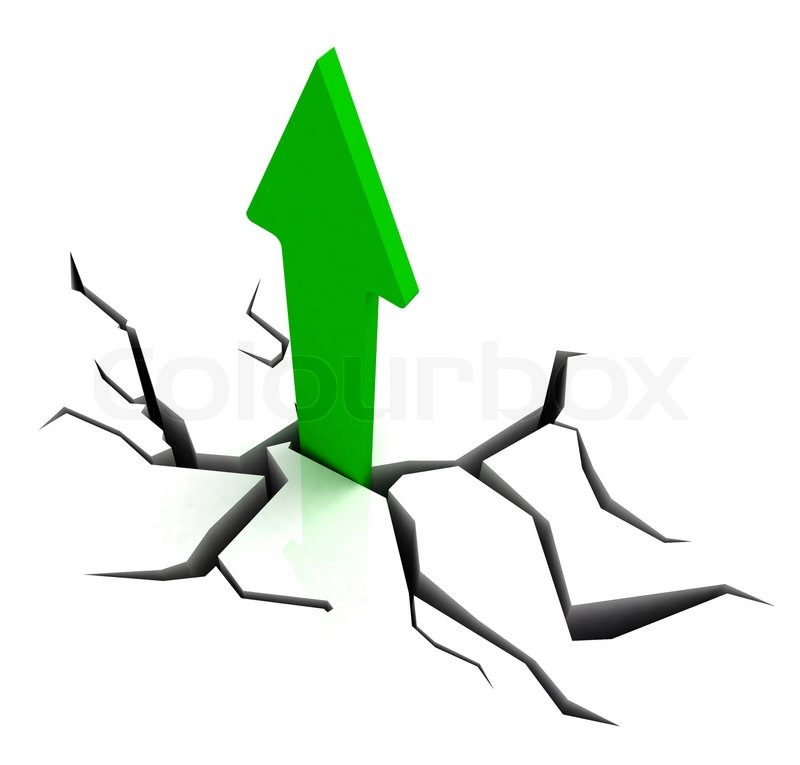 Green Upward Arrow Shows Breakthrough Stock Photo