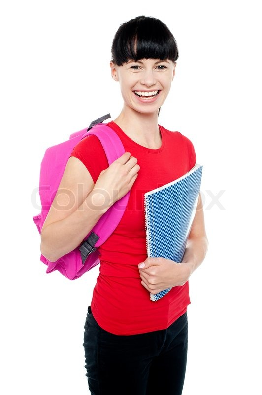 Charming Young Teenage Girl Ready To Attend College Stock Photo Colourbox
