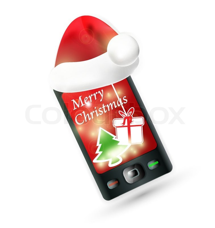 Smartphone With Santa S Red Hat Mobile Phone Christmas
