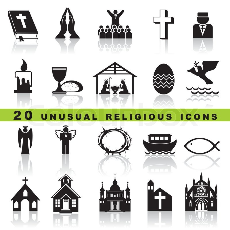 Set Vector Icons Of Christian Religion Sign And Symbol Stock