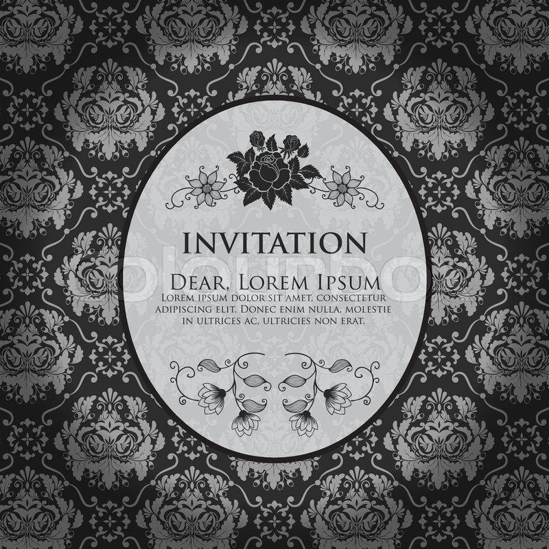 Invitation or wedding card with damask background and ...Black And White Elegant Backgrounds