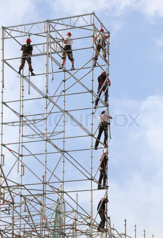 Build high-rise metal structures, stock photo
