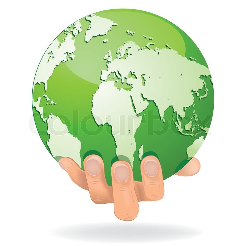 Encourage hands save planet Earth. Globe protected by people ...