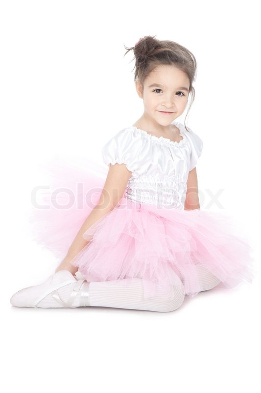 sch ne kleine t nzerin ballerina in rosa kleid in wei. Black Bedroom Furniture Sets. Home Design Ideas