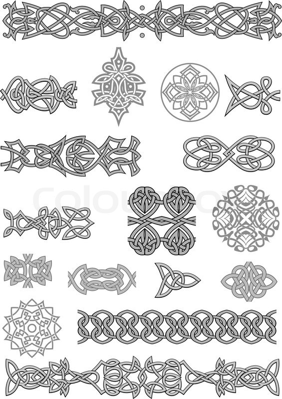 Celtic ornaments and patterns set for embellish and ornate for Irish mail cart plans