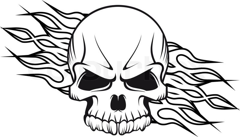 Gallery For gt Flaming Skull Coloring Pages