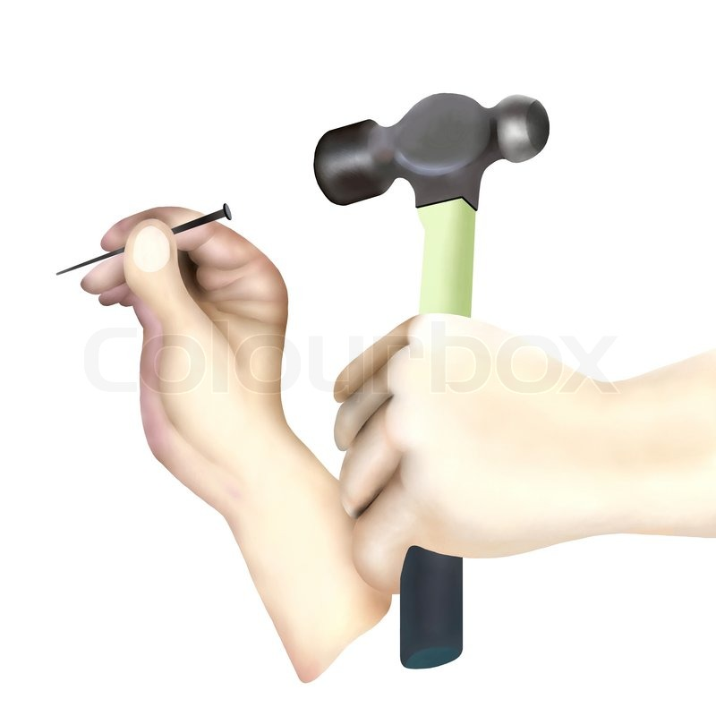 hammer and nails drawing. hand holding hammer hitting nail on white background | stock photo colourbox and nails drawing n