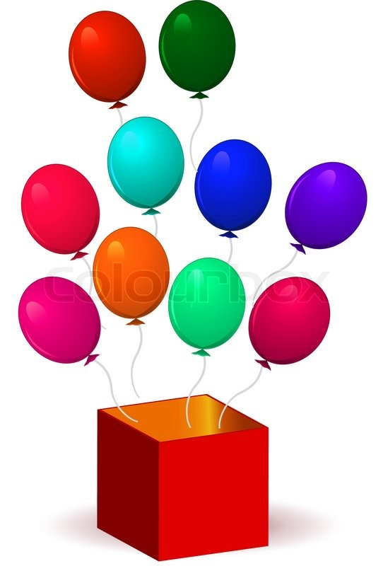 open present clipart. open box with balloons vector illustration isolated on white background transparency and gradient mesh not used stock colourbox present clipart