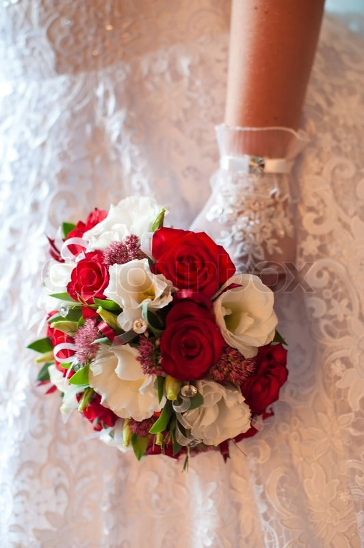 Wedding bouquet of red and white flowers stock photo colourbox mightylinksfo