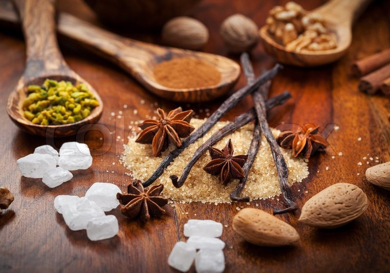 Aromatic Baking Ingredients For Christmas Cookies Stock