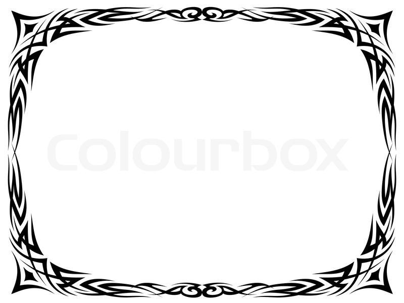 Simple black tattoo ornamental decorative frame | Stock Vector ...