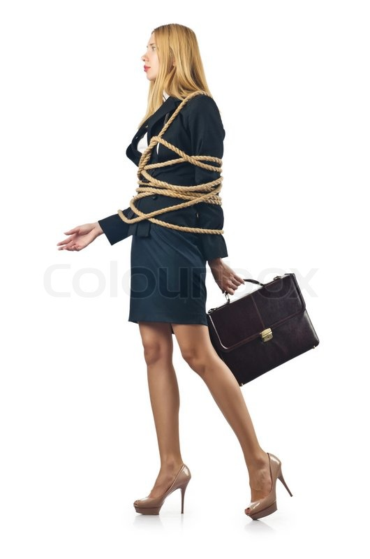 Tied Woman In Business Concept Stock Photo Colourbox