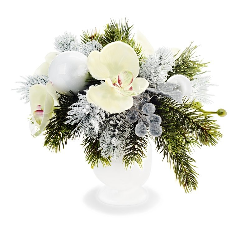 Christmas arrangement of christmas balls orchids Christmas orchid arrangements