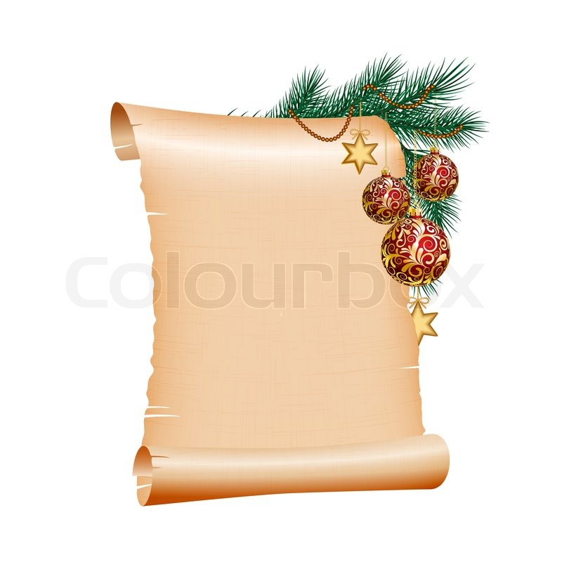 old blank scroll paper with red christmas balls on green spruce, Powerpoint templates