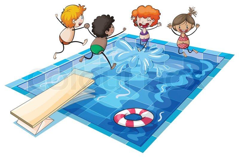 Schwimmen cliparts kostenlos  Ein Junge in einem Schwimmbad | Vektorgrafik | Colourbox