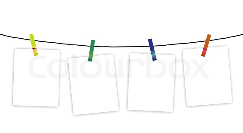 Clothes Line Clip Art ~ Four blank notes hanging on a clothesline stock photo