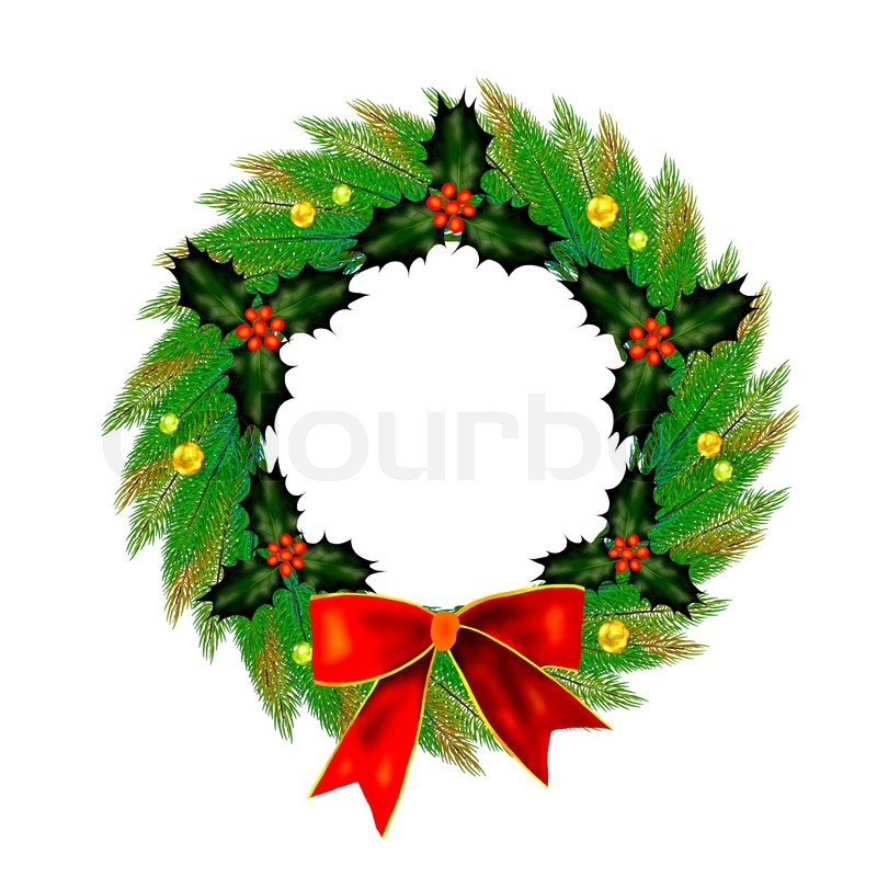 Christmas Wreath With Bow Holly Leaves And Berries
