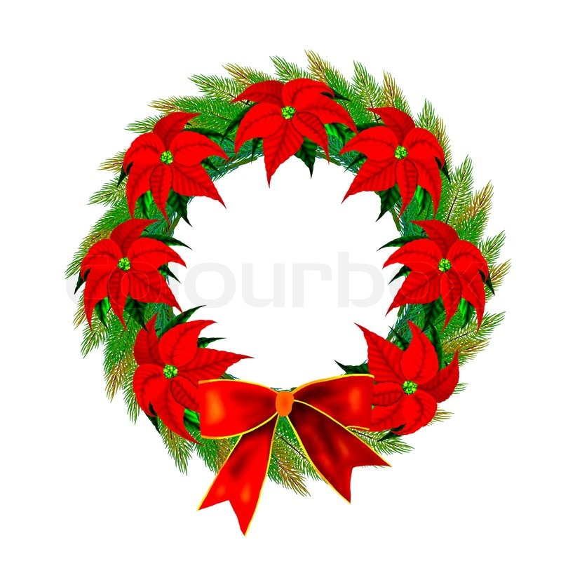 Christmas wreath with bow and poinsettia flowers stock for 5ft poinsettia garland christmas decoration