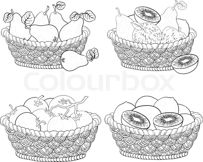 baskets with fruits and vegetables outline stock vector colourbox