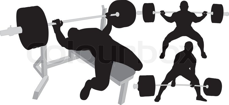 stock vector of powerlifting weightlifting or bodybuilding vector silhouettes on white background bench