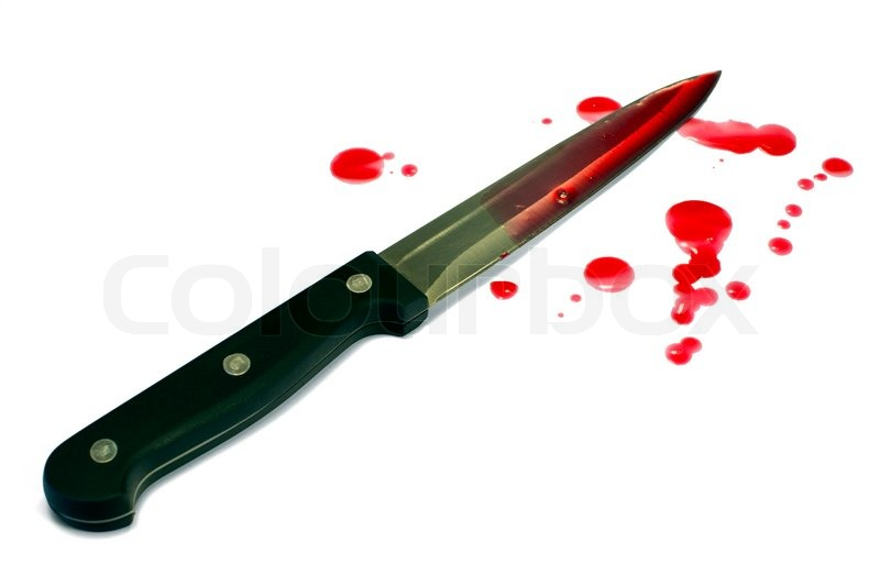 Bloody Kitchen Knife Isolated On White Stock Image Colourbox
