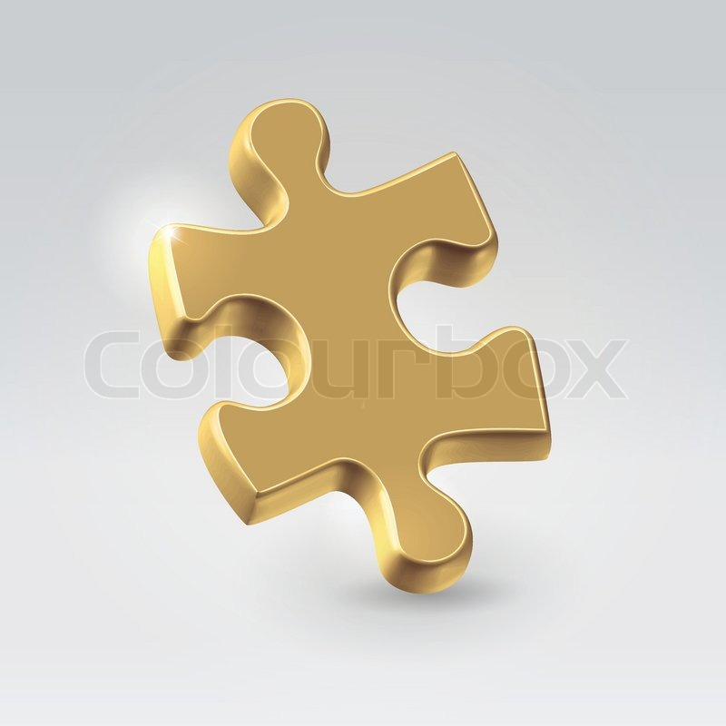 Golden Jigsaw Puzzle Piece
