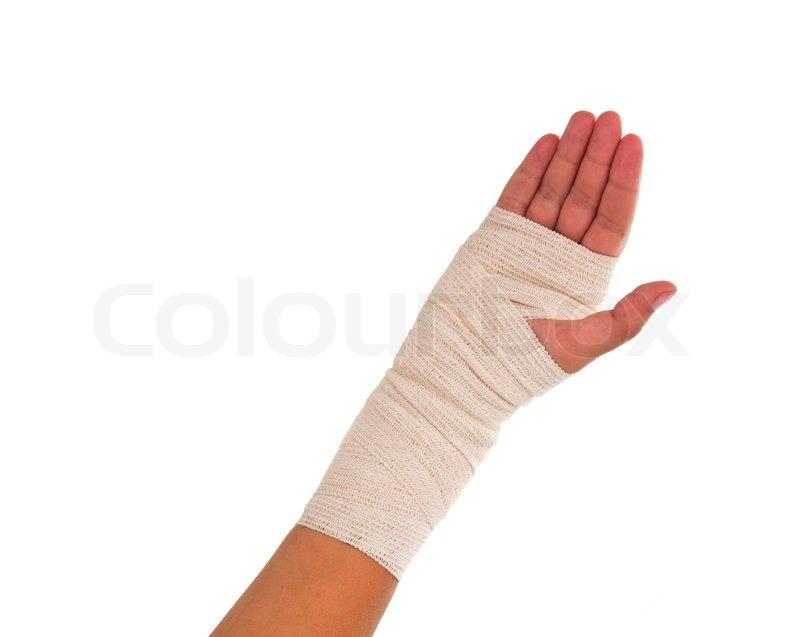 Bandaged Hand Hand Tied Elastic Bandage