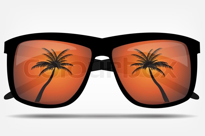 Sunglasses With Palm Trees  sunglasses with a palm tree vector ilration stock vector