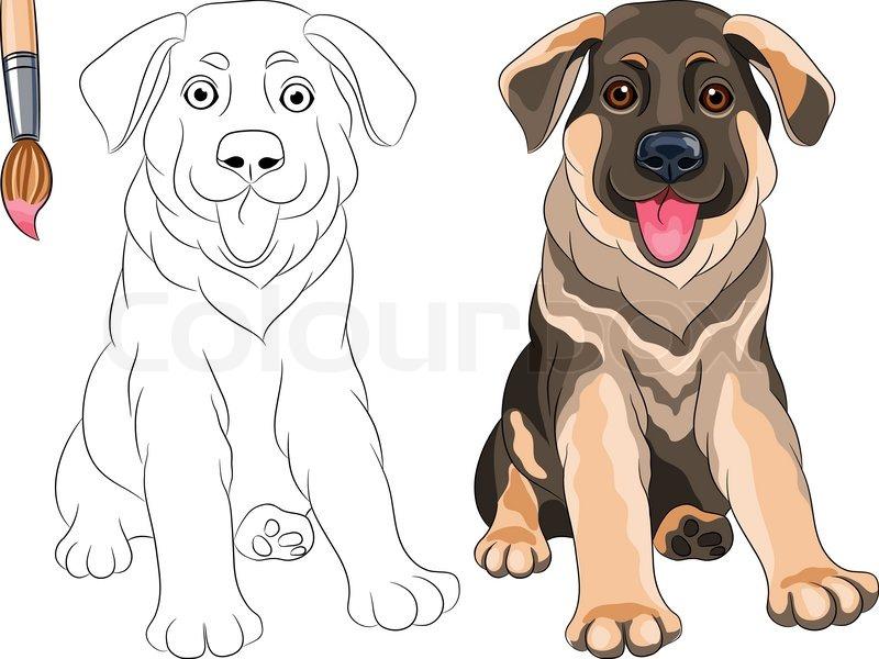 Vector Malbuch von lächelnden Puppy Hund Jack Russell Terrier ...