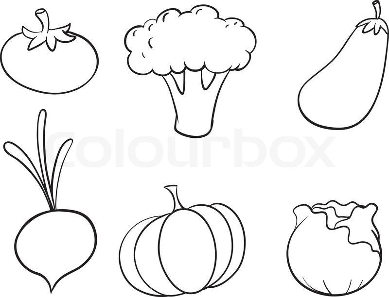 Lebensmittel, clipart, schwarz | Stock-Vektor | Colourbox