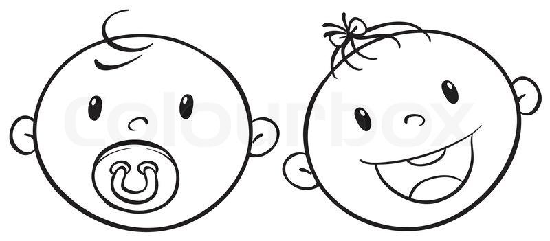 a baby faces sketch stock vector colourbox