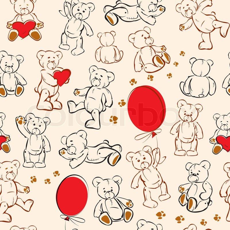 Seamless Texture With Teddy Bears Stock Vector Colourbox