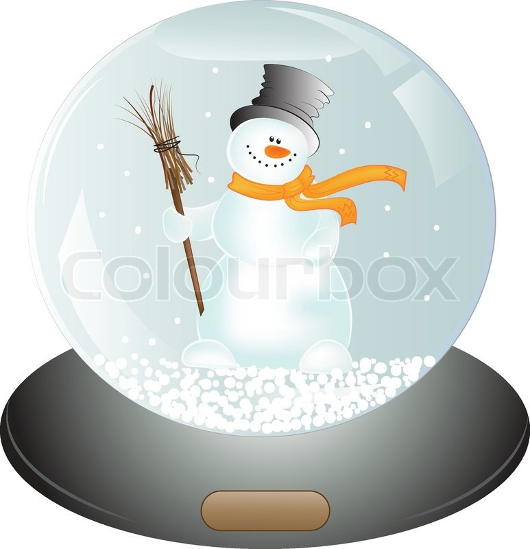 Christmas Gift Snowman In Snow Globe Vector