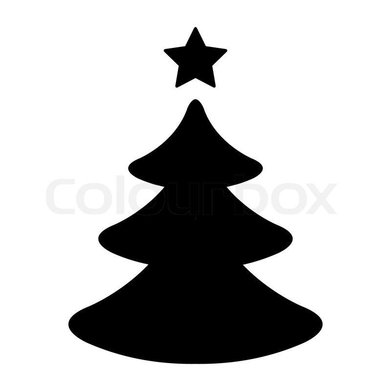 Einfacher schwarz Weißer Weihnachtsbaum | Vektorgrafik
