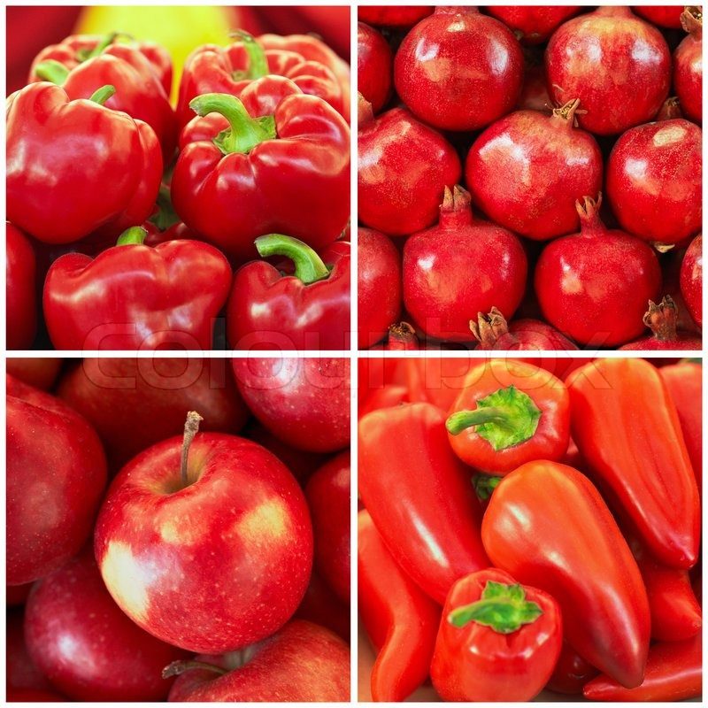 red fruit and vegetables in the collage stock photo