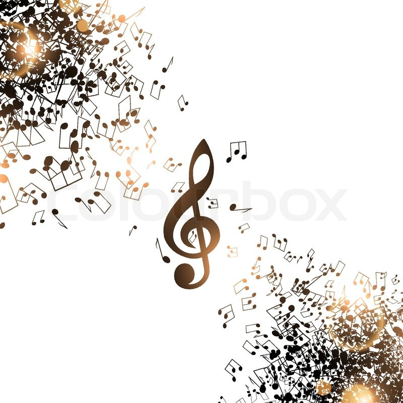 abstract music background with notes and treble clef stock vector colourbox