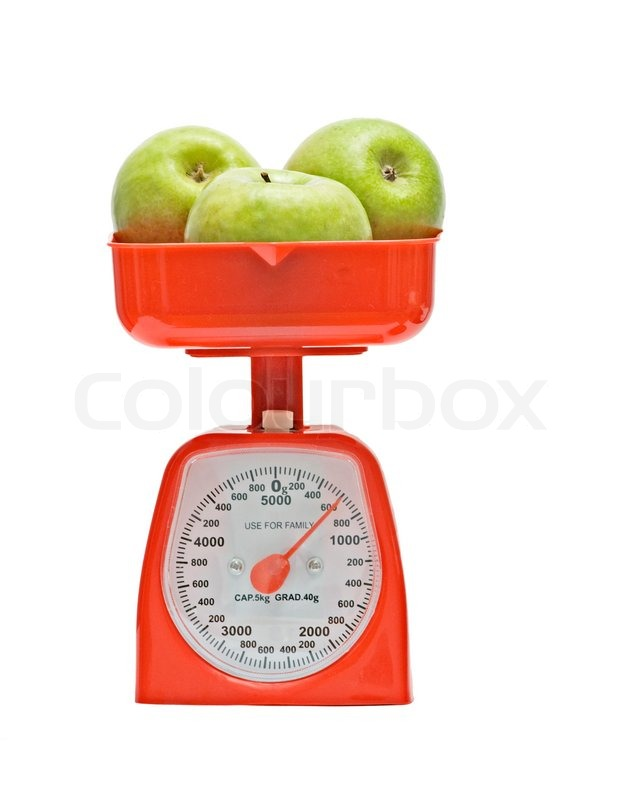 Kitchen Scale Weighting Apples Stock Photo Colourbox