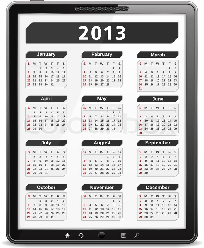 Stock vector of '2013 Calendar on the screen of tablet computer'