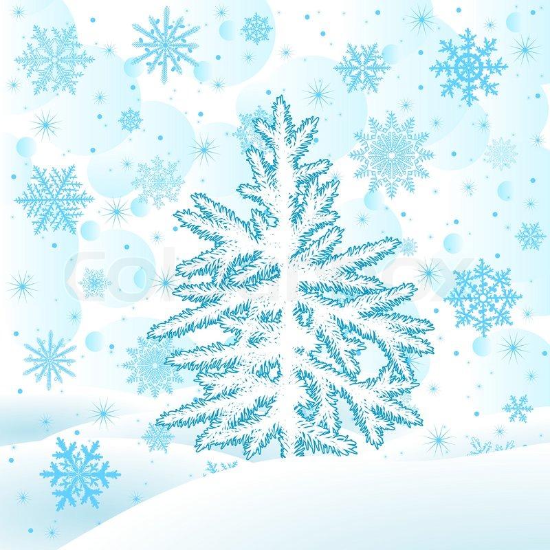 Weihnachtsbaum tanne auf einem schneebedeckten - Weihnachtsbaum vektor ...