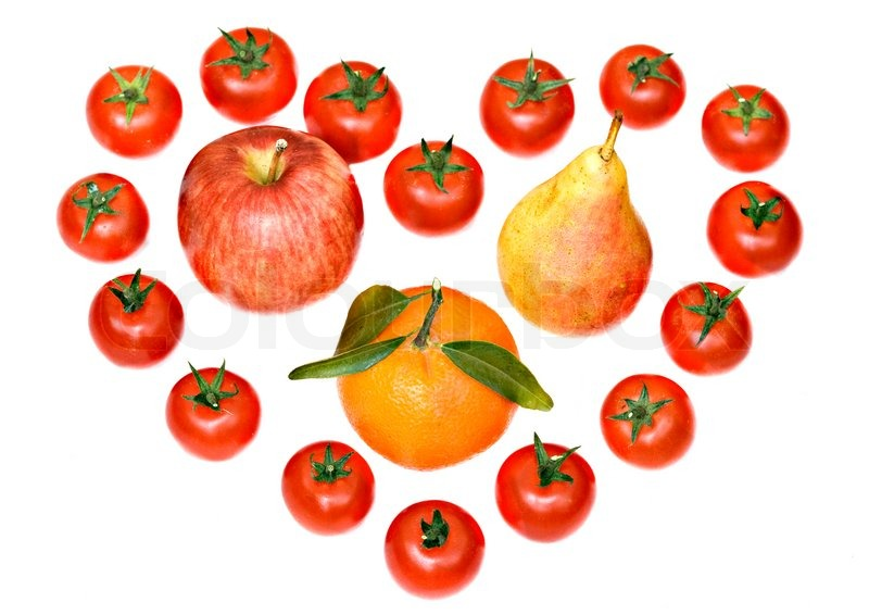 Composition Consisting Of Tomatoes Tangerine Pear And Apple