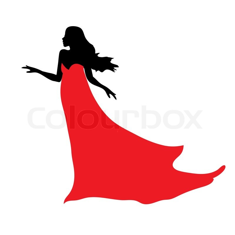 Black Silhouette Ofbeautiful Woman In Red Dress Stock