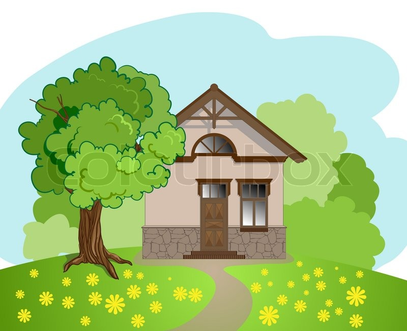 illustration of isolated cartoon house with tree | stock vector,